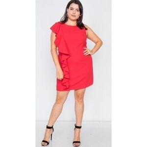 NWT PLUS SIZE Trim Frill Sleeve Mini Dress in RED